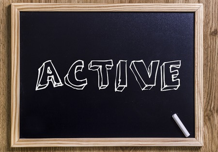 ACTIVE - New chalkboard with outlined text - on wood
