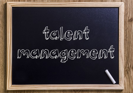talent management - New chalkboard with 3D outlined text - on wood