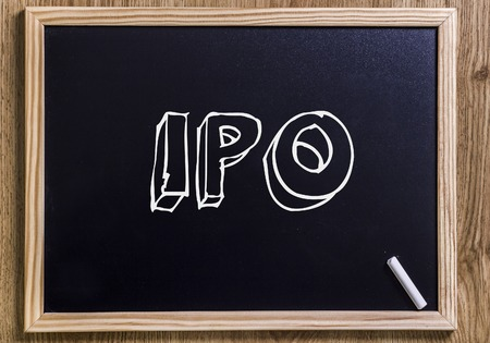 IPO - New chalkboard with outlined text - on wood