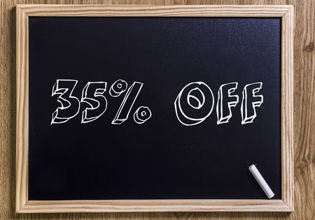 35% off - New chalkboard with 3D outlined text - on wood Stock Photo