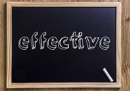effective - New chalkboard with 3D outlined text - on wood Stock Photo