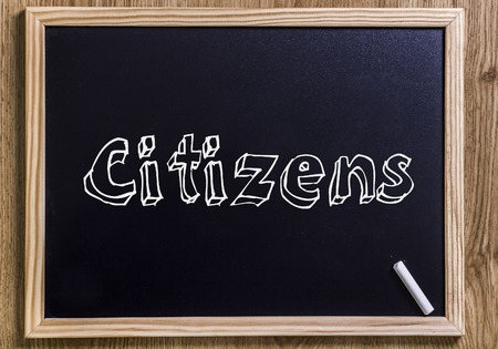 Citizens - New chalkboard with outlined text - on wood