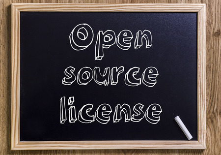 Open source license - New chalkboard with 3D outlined text - on wood