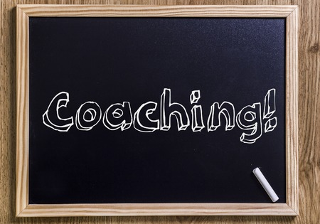 Coaching! - New chalkboard with outlined text - on wood