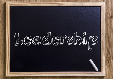 Leadership - New chalkboard with outlined text - on wood
