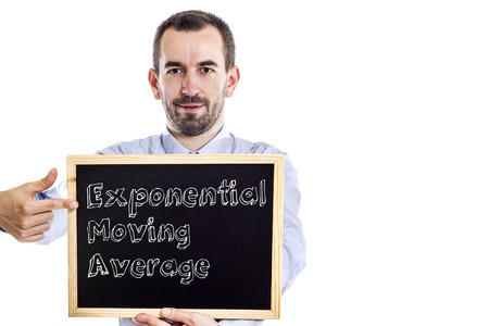 divergence: Exponential Moving Average EMA - Young businessman with blackboard - isolated on white - horizontal image