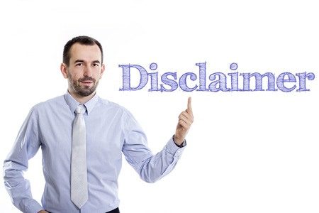 Disclaimer - Young businessman with small beard pointing up in blue shirt - horizontal image