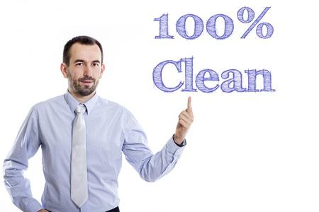 100 % 청결한 - 파란색 셔츠 - 가로 이미지에서에서 위로 가르키는 작은 수염을 가진 젊은 사업가