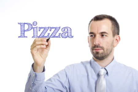 Pizza - Young businessman writing blue text on transparent surface - horizontal image Stok Fotoğraf