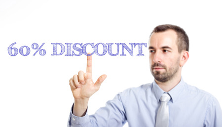 60% discount Young businessman with small beard touching text - horizontal image