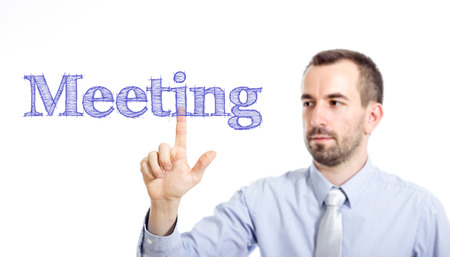 Meeting Young businessman with small beard touching text - horizontal image Stok Fotoğraf