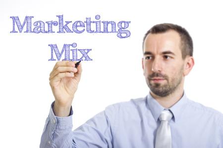 4p: Marketing Mix - Young businessman writing blue text on transparent surface - horizontal image