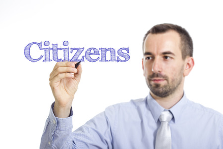 Citizens - Young businessman writing blue text on transparent surface - horizontal image