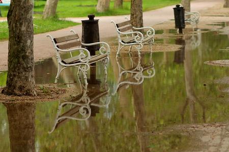 Rainy summer - gloomy days at a holidays resort Stock Photo