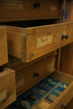 drawers: Vintage laboratory drawers Stock Photo