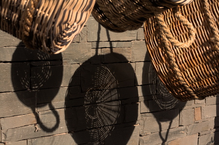 Hanging wicker baskets