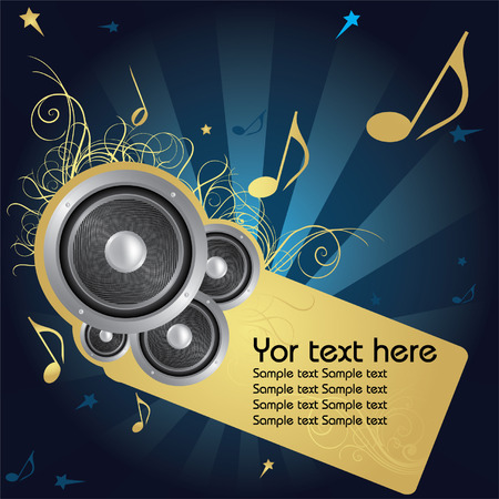 cheery: Music background whit golden flower and text frame   Illustration