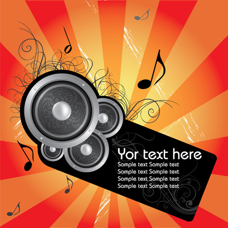 whit: Music vector composition whit flower