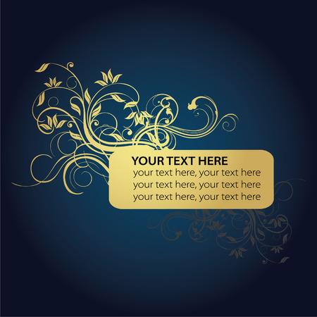 golden flower and text frame Vector