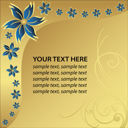 vector decoration: Blue flower whit golden background