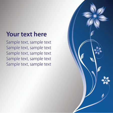metallic banners: Silver and blue floral background