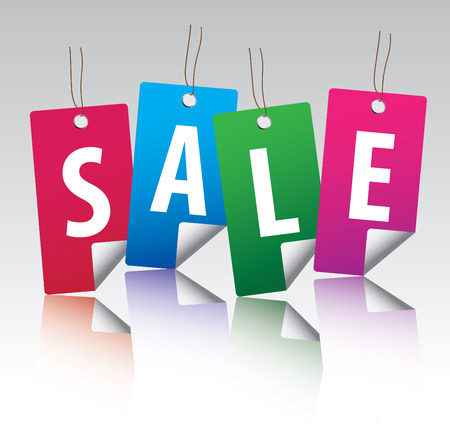 Glossy sale tag stickers with reflection Vector