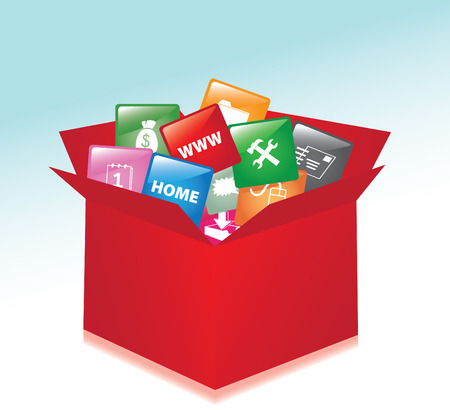 Box whit web buttons  promotional box Vector