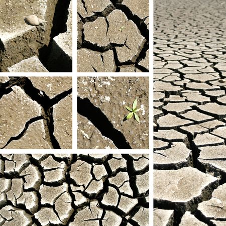 infertile: Cracked ground collage - Global warming concept