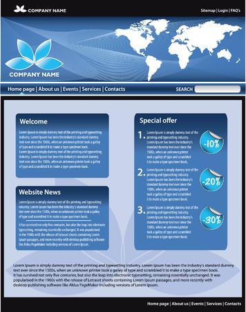 Blue business website template. All editable vector elements. Vector