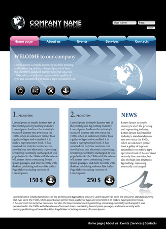 Blue business website template. All editable vector elements. # 1 Vector
