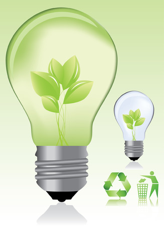 Green light bulb and ecology icons  eco concept  Vector