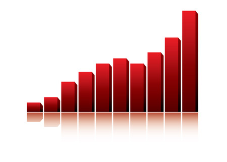 earnings: 3d graph showing rise in profits or earnings  vector illustration Illustration