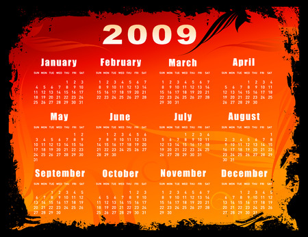 almanac: 2009 Calendar - floral design Illustration