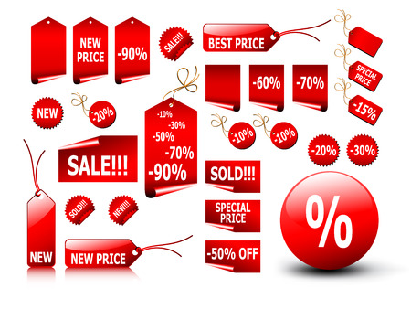big set of vector price tags - you can use it for any sale time or seasons Vettoriali