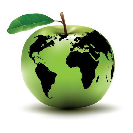environmental earth concept  apple  globe  vector