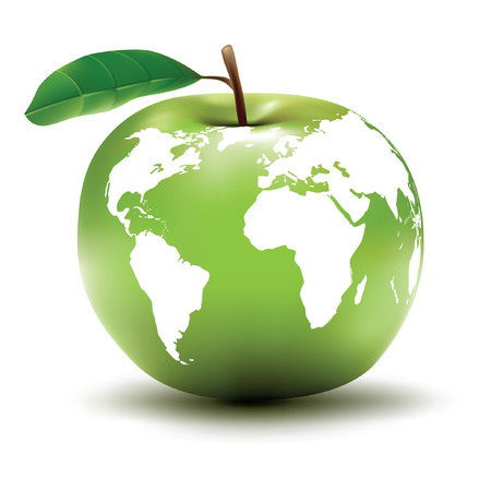 the natural world: environmental earth concept  apple  globe  vector