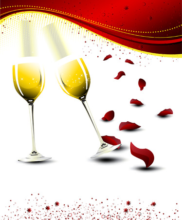two glasses of champagne with falling rose petals - vector illustration