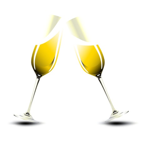 champagne glasses: Pair of champagne glasses making a toast. Valentine & New Year Illustration