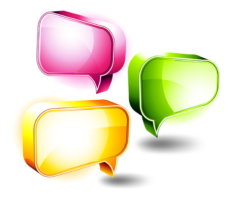 D Icons: Shiny Boxes Chat Illustration