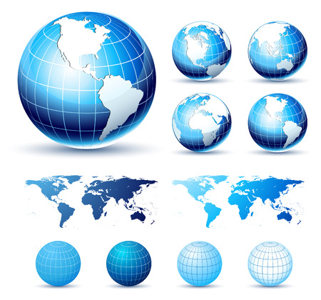 3D Icons: Glossy Earth Globes. Different views. Elements available for making other views. Vector