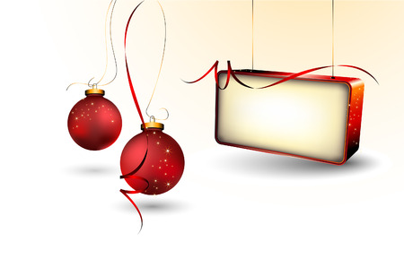 Christmas Background with Blank Billboard Illustration