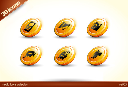 6 Beautiful glossy Shiny 3D Icons - media collection - set 01  Stock Vector - 5724749