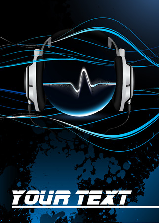 Vector Music Concept, Music Poster - Headphones Capturing Sounds  Vector