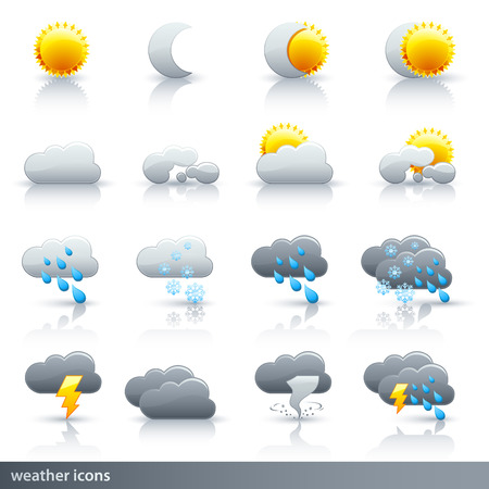 snow storm: Weather Vector Icon Set - Meteorology Illustration