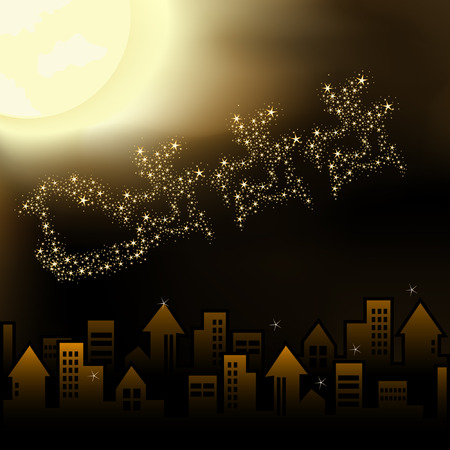 Santa`s sleigh flying over sleeping city. Magical moonlight on sky