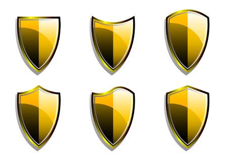 Set of Golden Vector Armor Shields  Vector
