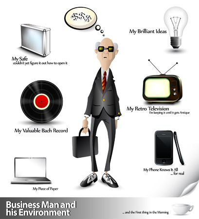 3d manager:  Business Man and his Environment - 3D Vector Icons