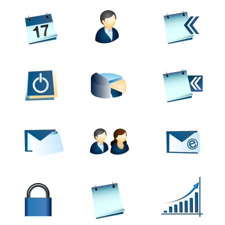 Business Office Internet Icons #1 - Blue Theme - Vector set with no transparency Stock Vector - 6703736