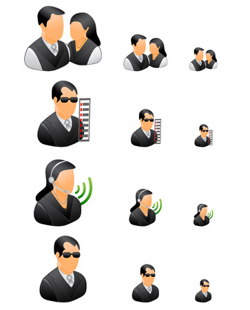 business people icons black theme Stock Vector - 6703731