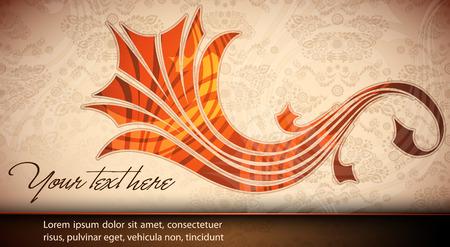 Elegant Floral Card - Damask Texture Illustration